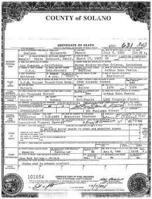 Darlene Ferrin Certificate of Death - BRSP - Darlene Ferrin ...