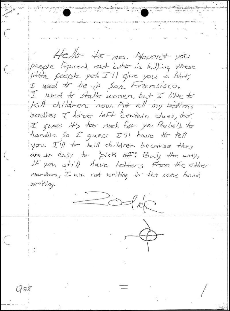 Zodiac suspected letter - Atlanta, GA March 8, 1981