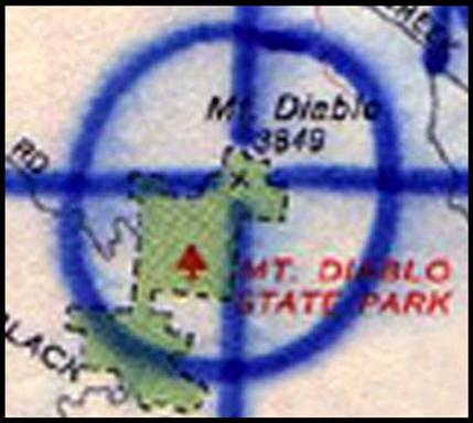 Mt. Diablo map close up peak