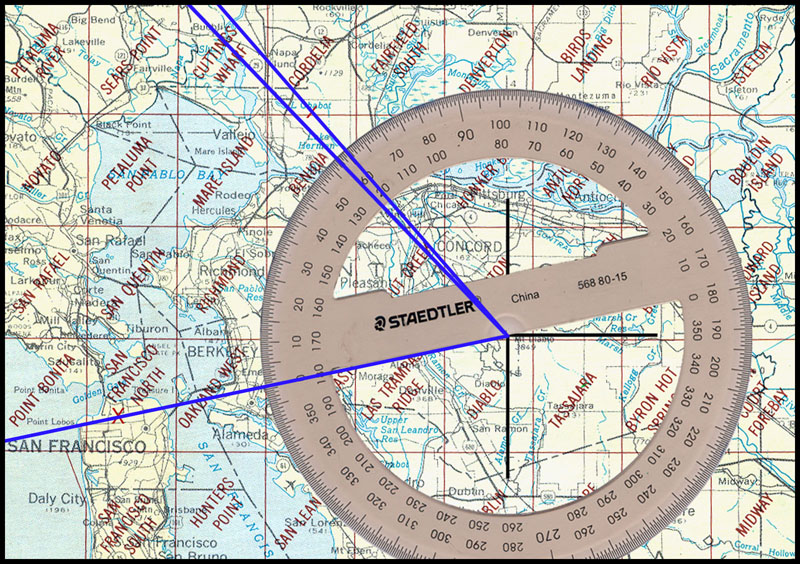 USGS Map w protractor crime scenes and RADIAN