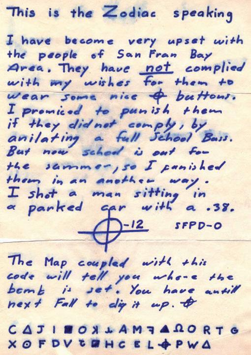 Zodiac Mt Diablo letter