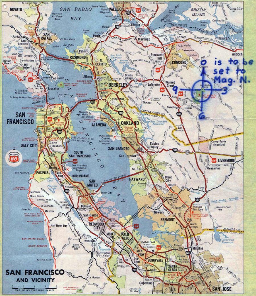 Zodiac Mt Diablo map
